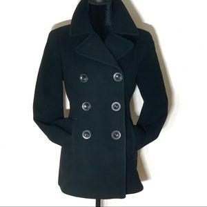 Calvin Klein Wool Blend Black Classic Pea Coat